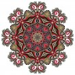 Circle lace ornament, round ornamental geometric doily pattern — Stock Vector #31616323
