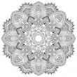 Circle lace ornament, round ornamental geometric doily pattern — Imagen vectorial