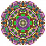 Circle lace ornament, round ornamental geometric doily pattern — Stock Vector #31618581