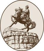 Riginal sketchy digital drawing of historic monument of famous Ukrainian hetman Bogdan Khmelnitsky — Stock Vector