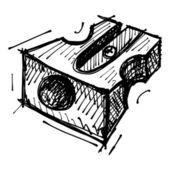 Black sketch drawing of sharpener — Stock Vector