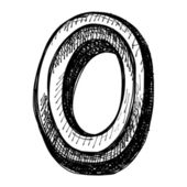 Black sketch drawing of numbers — Vector de stock
