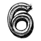 Black sketch drawing of numbers — Vettoriale Stock