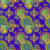 Hand zeichnung verzieren nahtlose blumen paisley design-hintergrund — Stockvektor