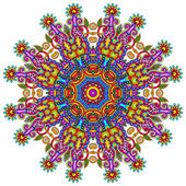Ornamento di pizzo cerchio, rotondo ornamentali geometriche doily pattern — Vettoriale Stock