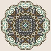 Circle lace ornament, round ornamental geometric doily pattern — Stock Vector