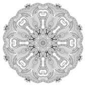 Circle lace ornament, round ornamental geometric doily pattern — Stockvector