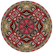 Circle lace ornament, round ornamental geometric doily pattern — Stok Vektör