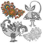オリジナル手描線アート華やかな花のデザイン. — ストックベクタ