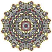 Kreis Spitze Ornament, Runde dekorative geometrische Deckchen Muster — Stockvektor