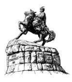 Original sketchy black and white digital drawing of historic monument of famous Ukrainian hetman Bogdan Khmelnitsky — Stock Vector