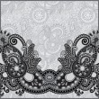 Grey vintage floral ornamental template on flower background — Vettoriali Stock