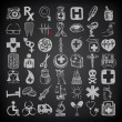 49 hand drawing doodle icon set, medical theme on black background — Stock Vector