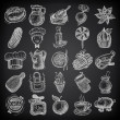 Stok Vektör: 25 sketch doodle icons food on black background