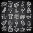 25 sketch doodle icons food on black background — Vector de stock