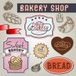 Collection of vintage retro bakery label design — Stock Vector