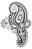 Linha preta arte flor ornamentado design — Vetorial Stock