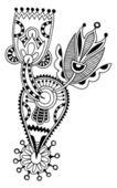 Linha preta arte flor ornamentado design — Vetor de Stock