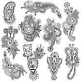 Black line art ornate flower design collection — Stock Vector