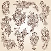 Line art ornate flower design collection — Stock Vector