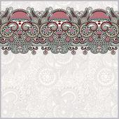 Fondo floral adornado con franja de adorno — Vector de stock