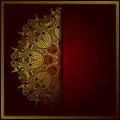 Elegancka złota linia ozdobnych koronki koło wzór — Wektor stockowy