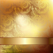 Gold elegant flower background with a lace pattern — Vector de stock