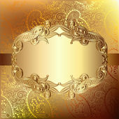 Gold elegant flower background with a lace pattern — Stock Vector