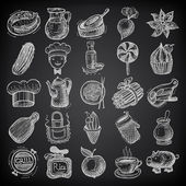 25 sketch doodle icons food on black background — Stock Vector