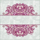 Ornate floral card announcement — Stock Vector