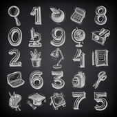 25 sketch education icons, numbers and objects on black background — Stock Vector