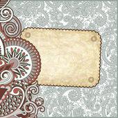 Modello d'epoca grunge con motivi floreali ornamentali — Vettoriale Stock