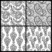 Black and white ornate seamless flower paisley design background — Stock Vector