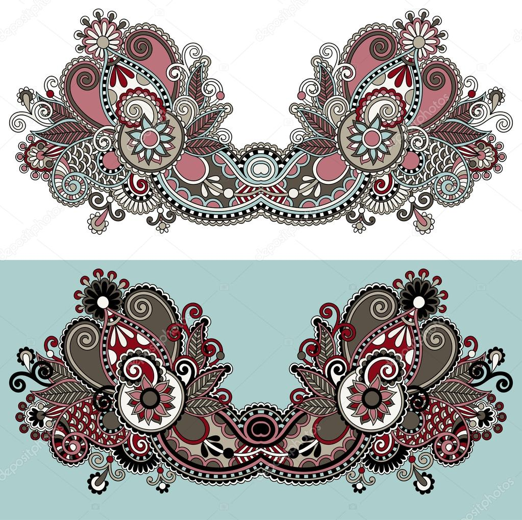 Neckline ornate floral paisley embroidery fashion design Fashion embroidery designs