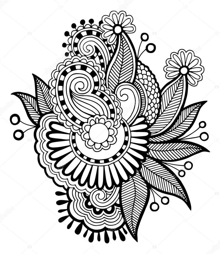 Line Art Illustration Style : Black line art ornate flower design stock vector