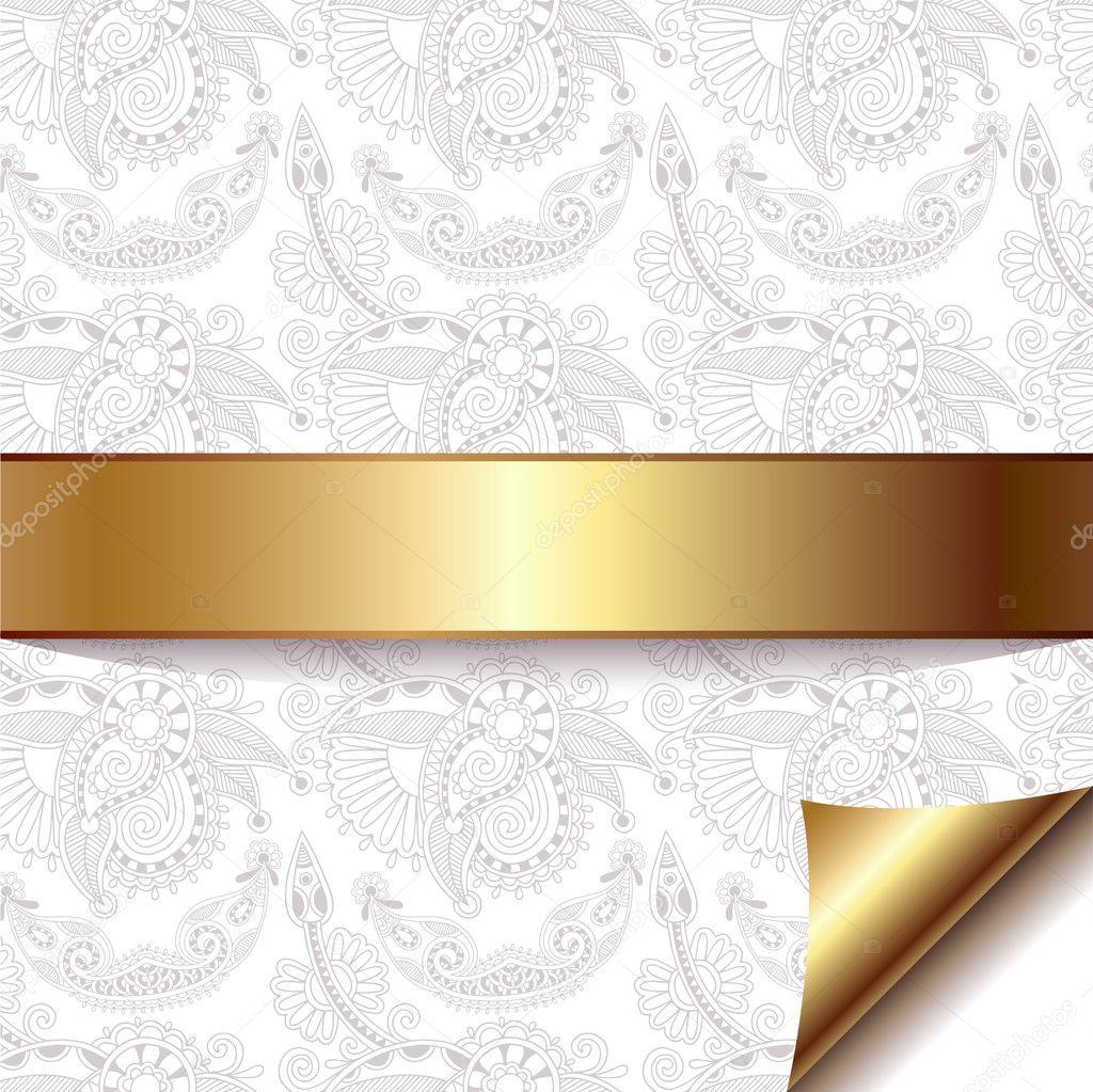 Fondo floral ligero con cinta dorada — Archivo Imágenes ...
