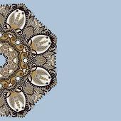 Modèle ornemental avec fond floral cercle — Vecteur