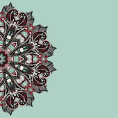 Ornamental template with circle floral background — Vector de stock