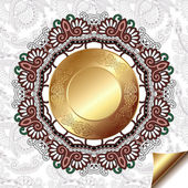 Light floral background with gold circle pattern and circle lace ornament — Stock Vector