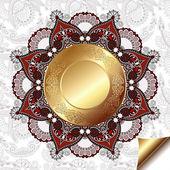 Luz de fundo floral com padrão do círculo de ouro e enfeite de laço do círculo — Vetorial Stock