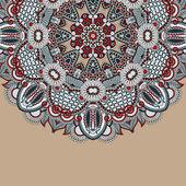 Projeto de círculo da flor em fundo grunge com enfeite de laço — Vetorial Stock