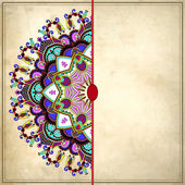 Ornamental template with circle floral background — Stok Vektör
