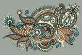 Original digital draw line art ornate flower design. — Stock Vector