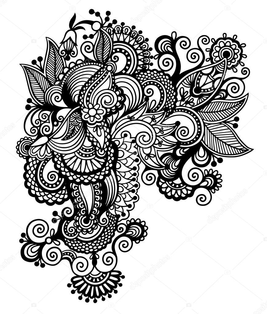 Line Art Typography : Conception de fleur ornée dart ligne noire style ethnique