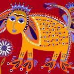 Unusual animal, folk illustration — Stock Vector