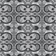Floral seamless pattern, black and white — Stock Vector