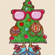Christmas tree, hipster style — Stock Vector