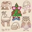 Penguin, fir tree, owl, bird, deer, elephant, christmas hat — Stok Vektör