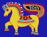 Paard, folk tribal etnische illustratie, 2014 Nieuwjaar — Stockvector