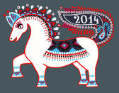 Horse, folk tribal ethnic illustration, 2014 new year — Stock Vector